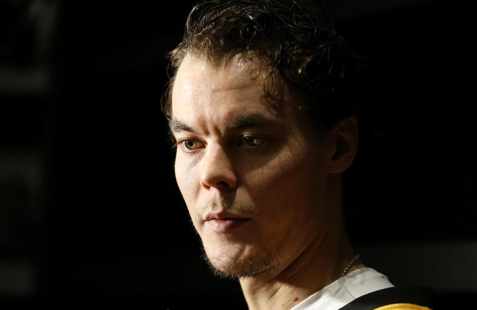 Brighton, MA--10/10/2016-- Bruins goalie Tuukka Rask gives an interview during Bruins Media Day in Brighton, MA, October 11, 2016. (Jessica Rinaldi/Globe Staff) (Jessica Rinaldi) Topic: NHL preview_Bruins Reporter: